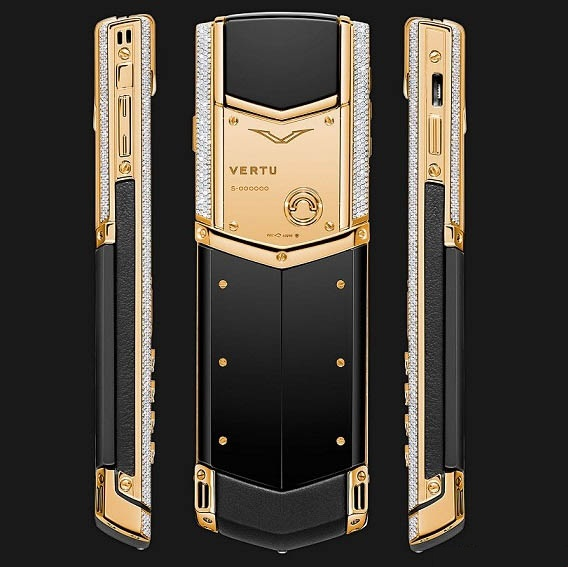Vertu Signature S Yellow Gold Full Pave Baguette Diamonds